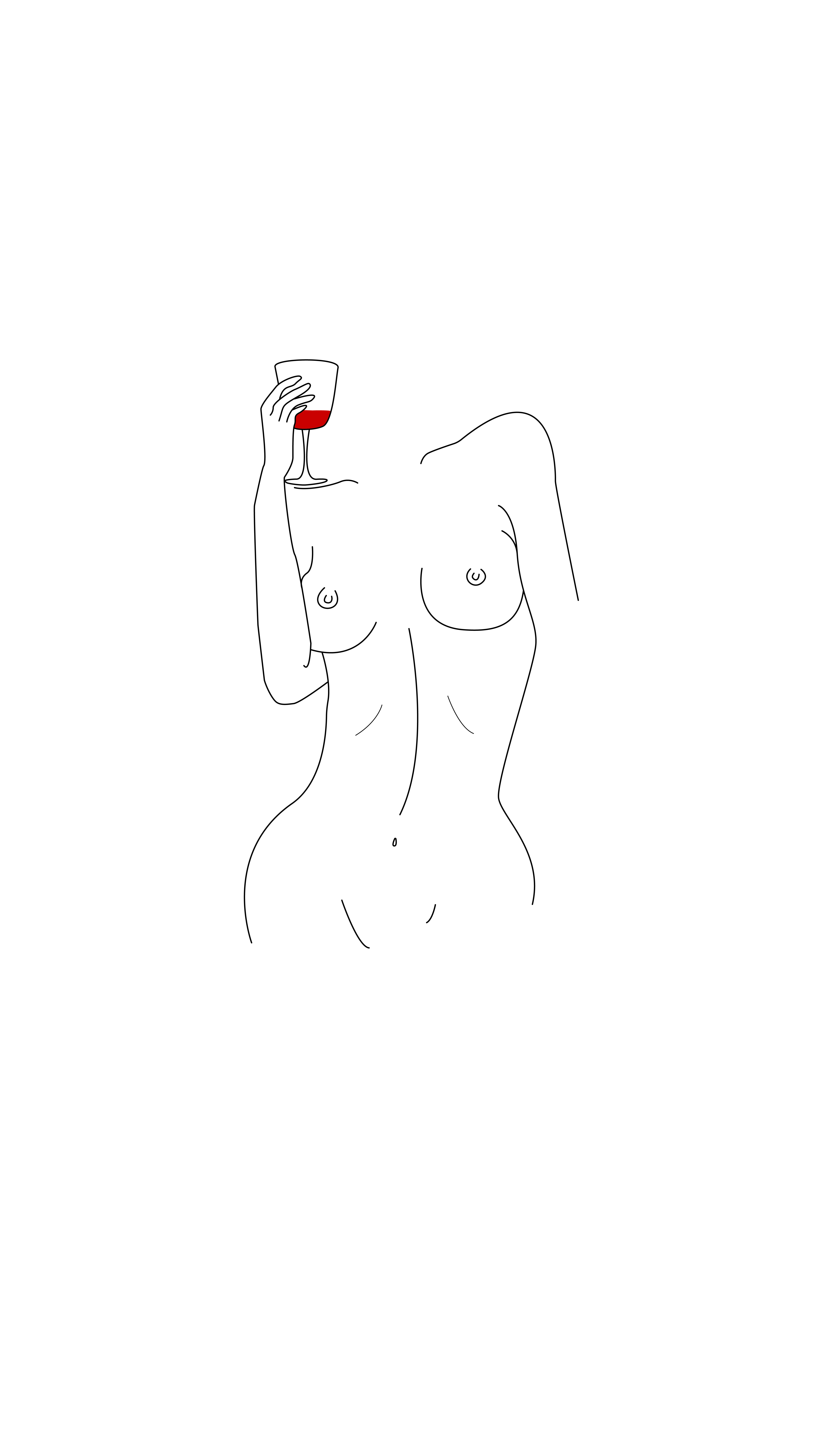 drawing of nude woman drinking wine