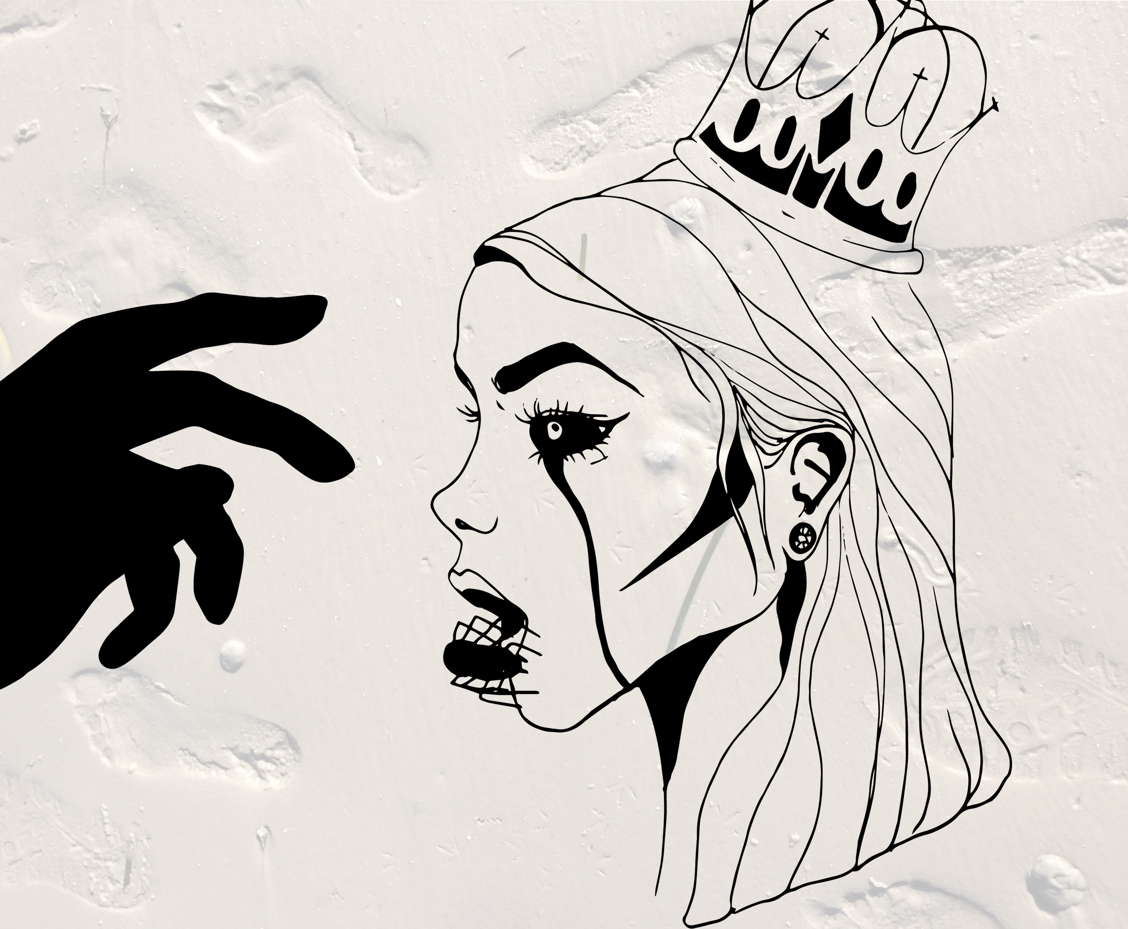 black and white drawing of woman with a crown