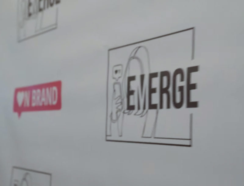 backdrop with onbrand logos