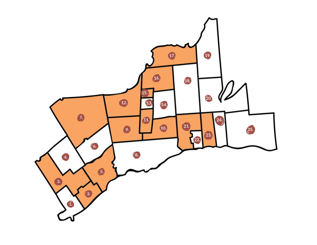 map of the GTA indicating which regions have opted out of selling cannabis.